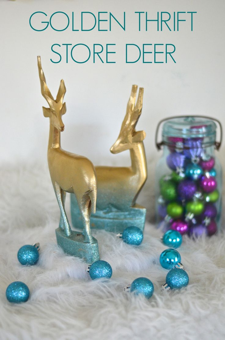 transform two wooden thrift store deer into holiday decorations