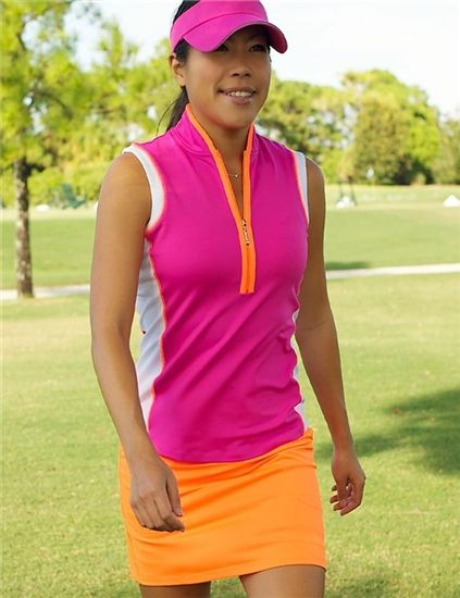 JoFit Sleeveless Jacquard Tapered Mock Polo & Skort.  Love the colors.