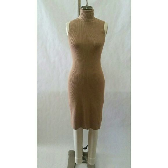 Camel Body Con Camel Dress This super soft dress is a ribbed body con dress. It features a turtle neck. This dress is perfectly versitle for work, dinner, and play. Moda International Dresses