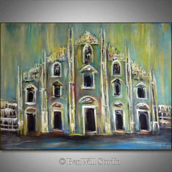 Large ORIGINAL Italian Oil Painting MILAN ITALY Cathedral - Fine Art on Canvas - Huge Painting 54x40 by BenWill