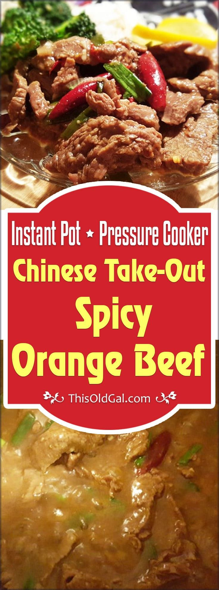 Pressure Cooker Chinese Take-Out Spicy Orange Beef & Rice is a one pot Asian dish. The rice cooks at the same time as the beef in the same pot. via @thisoldgalcooks