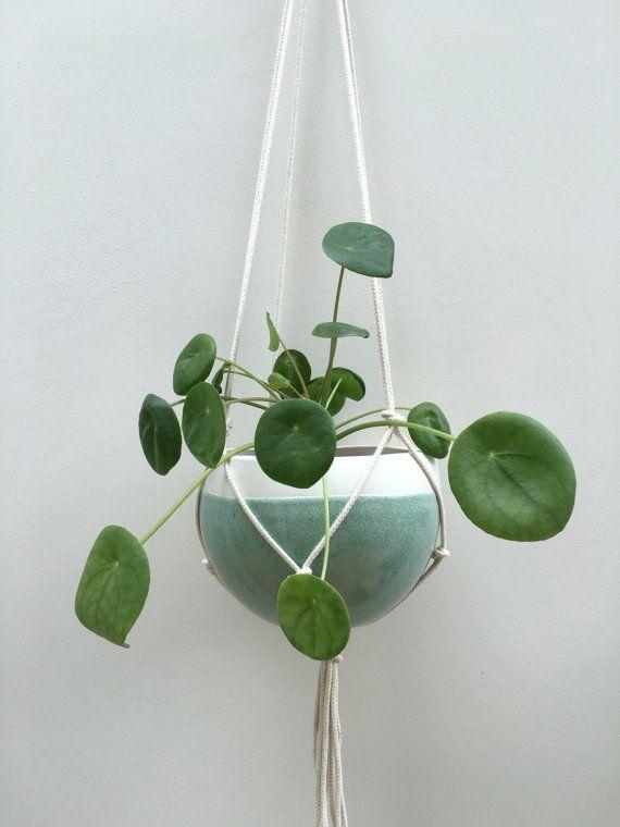Medium hanging planter macrame ceramic by KtRobbinsCeramics