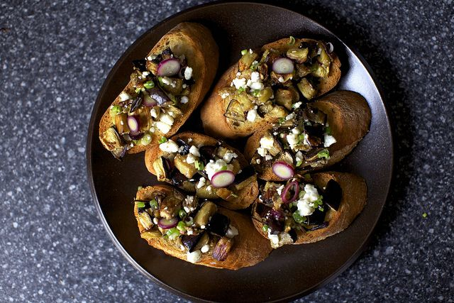 eggplant salad on toasts by smitten | Apps | Pinterest