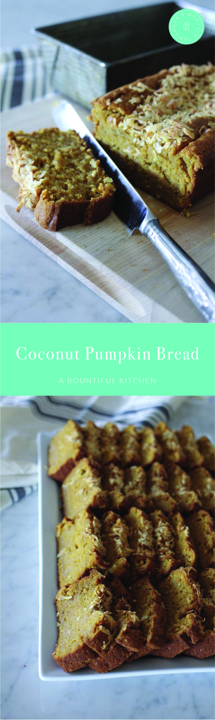 A Bountiful Kitchen: Coconut Pumpkin Bread actually is a quick bread, so it is perfectly acceptable to be served at breakfast or brunch. The combination of pumpkin and pudding make this bread unbelievably moist and rich. #breakfast #brunch #quickbread #pumpkin #holidaybaking