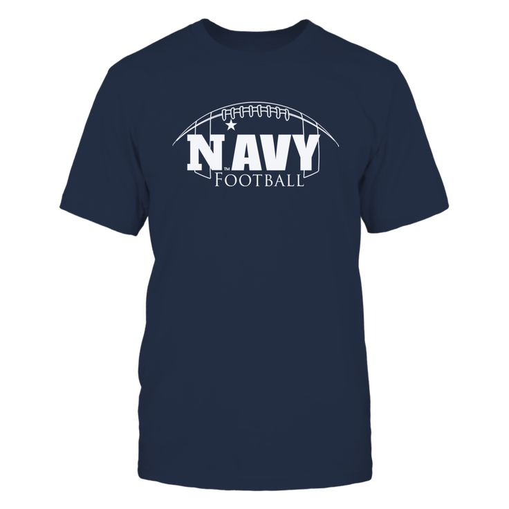 """Navy Football Mascot Clothing - Football Outline T-Shirt, _Officially licensed Navy Football Mascot Clothing _ The US Navy football team is highlighted during the 3rd season of the popular Showtime show """"A Season with Navy Football""""  The popular show that follows a NCAA football team through their season.  Follow the hashtag #ASeasonWith on Twitter and... The Navy Midshipmen Collection, OFFICIAL MERCHANDISE  Available Products:          Gildan Unisex T-Shirt - $25.95 Gildan Long-Sleeve…"""