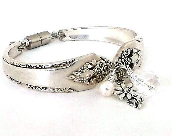 1937 Lovely Lady Silver Spoon Bracelet Handmade From