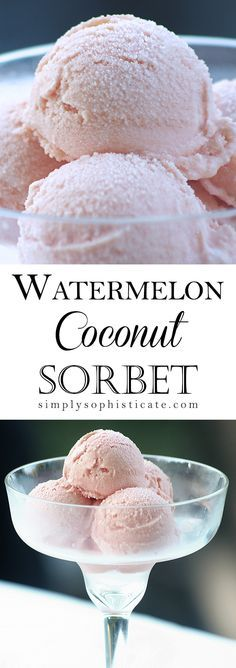 Watermelon Coconut Sorbet, just 4 ingredients: seedless watermelon, FULL FAT coconut milk, cream of coconut, juice from 1 lemon *1/4 cup pure maple syrup (optional)