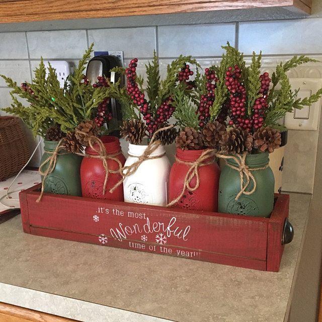 Mason Jar Christmas Centerpiece Christmas Centerpiece Christmas Wreath Farmhouse Christmas Mason Jar Decor Christmas Table Decor Xmas Christmas Mason Jars Mason Jars Christmas Jars