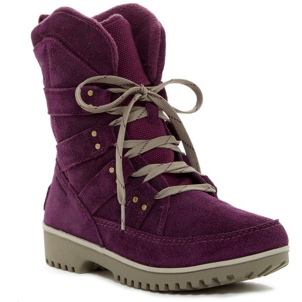 Sorel Meadow Lace Boot - Waterproof ($70) ❤ liked on Polyvore featuring shoes, boots, ankle booties, ankle boots, purple dahlia, waterproof ankle boots, lace up booties, purple ankle boots, waterproof boots and lace ankle boots
