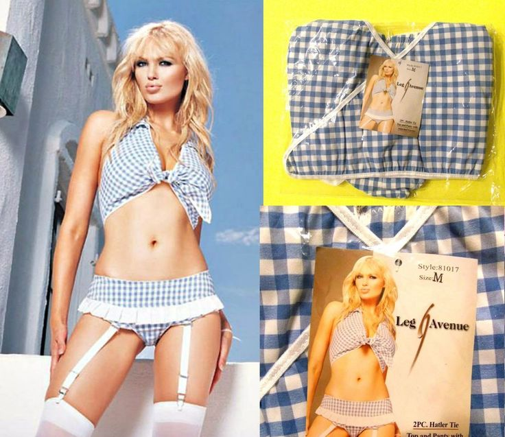 Leg Avenue 2 Pc. Halter Tie Top and Panty with attached garter, M #LegAvenue