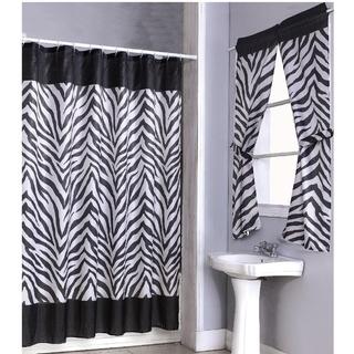zebra print shower curtain 14 piece set and 4 piece window