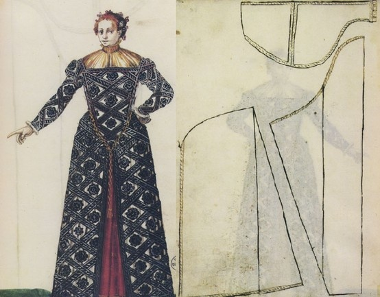 f 94 r & f 94 v:  Gentlewoman's Attire & Pattern for Gown 1570s
