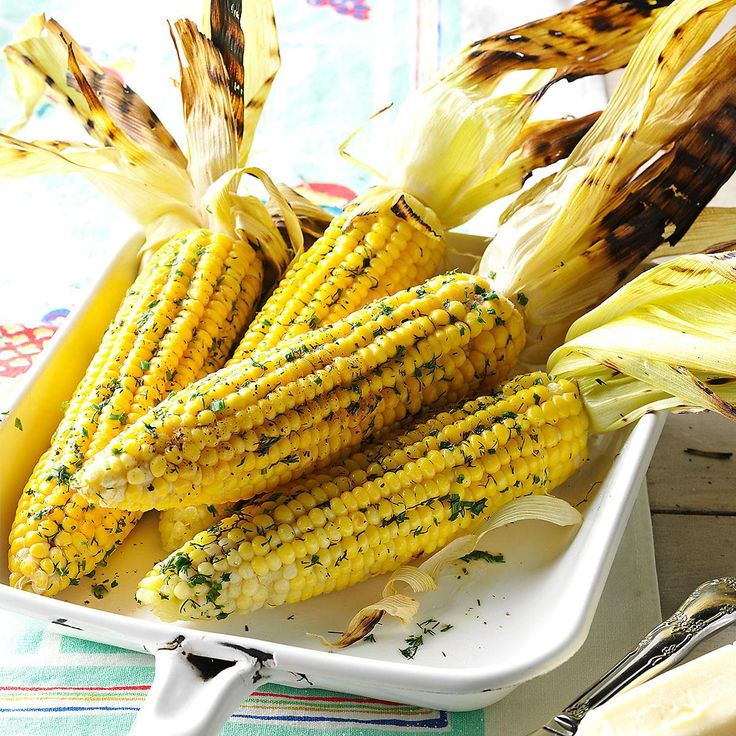 Grilled Corn with Dill Recipe -I like to peel the husks back and rub ears of sweet corn with delicious dill butter before putting them on the grill.  The butter melts over the golden kernels as the corn steams inside the husk. —Jeannie Klugh, Lancaster, Pennsylvania