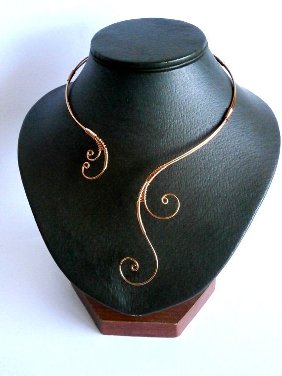 Copper Necklace Wire Wrapped Collar Statement by NataliStudio