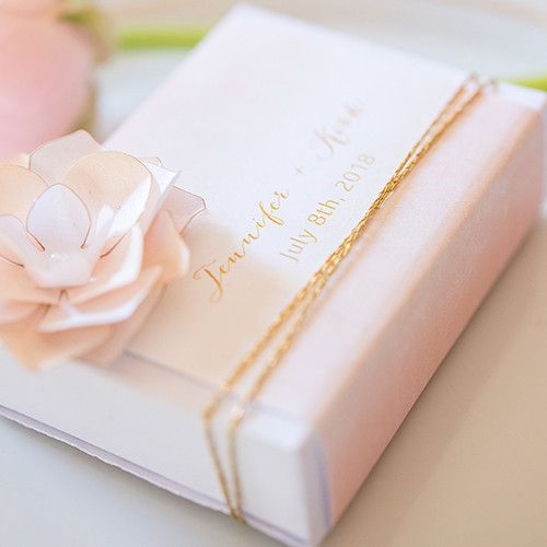 White Drawer-Style Favor Box With Aqueous Wrap Pastel Pink (8)