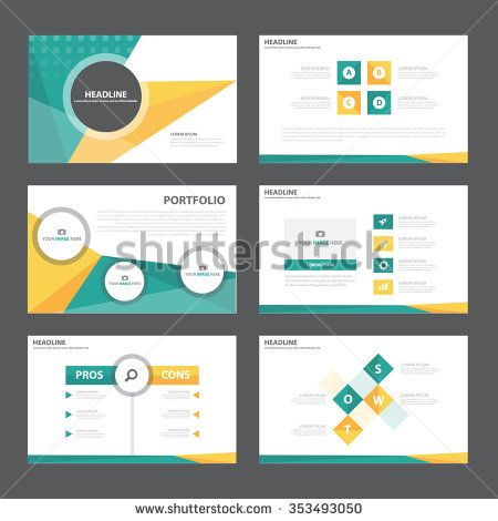 Green orange presentation template Infographic elements flat design set for brochure flyer leaflet marketing advertising