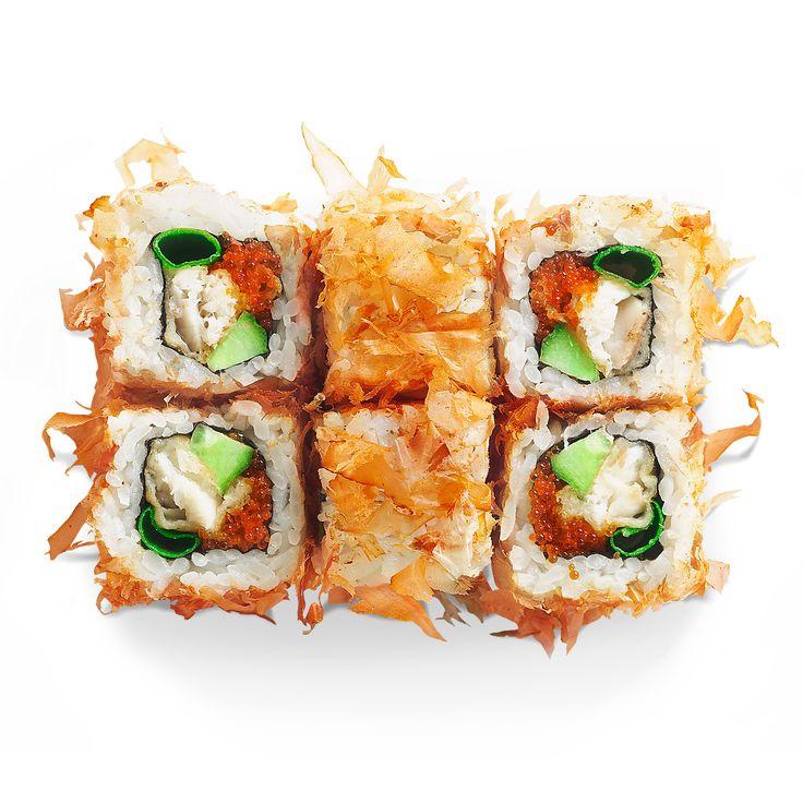 Отори ролл Otori roll  With the sea bass tempura, cucumber, tobiko and tuna flakes  230 rubles.