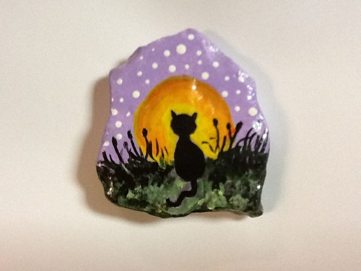 Hand painted rock - Black Cat