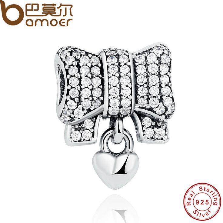 BAMOER Authentic 925 Sterling Silver Knot Heart Charm Fit Original  Bracelet amp Necklace DIY Accessories PAS244