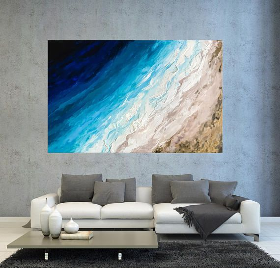 Blue Abstract seascape, Large ocean art, Turquoise gold art Extra large wall art Painting on canvas Coastal art Wave painting Tropical decor