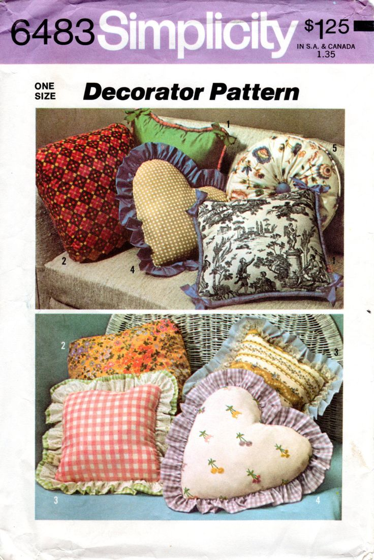 1970s Throw Pillow Pattern - Vintage Simplicity 6483 - UNCUT Square Heart Round by ErikawithaK on & 70 best Sewing tutorials images on Pinterest | Sewing tutorials ... pillowsntoast.com