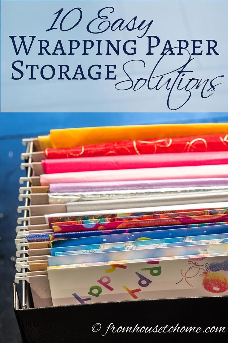 10 Easy Wrapping Paper Storage Solutions | Looking for some ways to organize your gift wrap? Try one of these 10 easy wrapping paper storage solutions so that you can find it when you need it.
