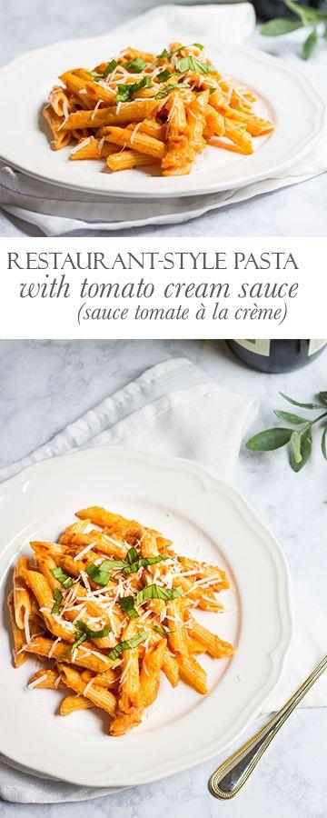 Pasta with Tomato Cream Sauce (sauce tomate à la crème): Creamy pasta that tastes like it was made my a professional chef! Recipe via MonPetitFour.com