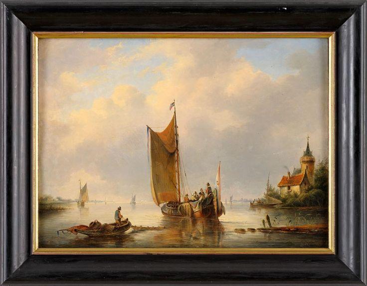 Hendriks, Gerardus 1804 Amsterdam - 1859 Rotterdam Holländische Flusslandschaft mit Fährboot. S