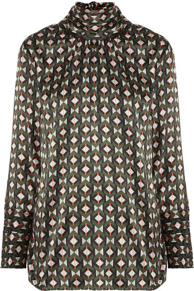 Fendi - Pussy-bow Printed Silk-satin Blouse - Army green