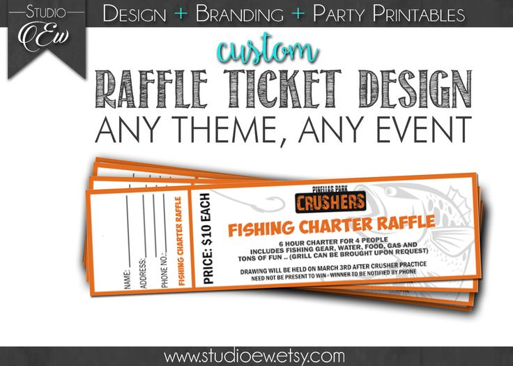 Custom Raffle Ticket Design (Any Event Any Theme), Fundraiser Ticket Design, Raffle, Fundraising Raffle, Raffle Ticket, Digital File by StudioEW on Etsy https://www.etsy.com/listing/265980852/custom-raffle-ticket-design-any-event