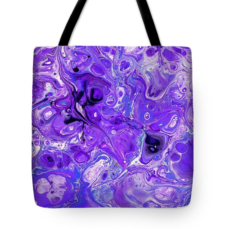 Sacred Purple Flows. Abstract Fluid Acrylic Pour Tote Bag by Jenny Rainbow.  The tote bag is machine washable, available in three different sizes, and includes a black strap for easy carrying on your shoulder.  All totes are available for worldwide shipping and include a money-back guarantee.