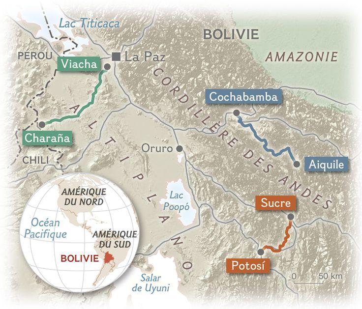 Trois anciennes lignes de voie ferrée ont été rouvertes pour désenclaver les villages de la cordillère des Andes. © Carte du NGM France