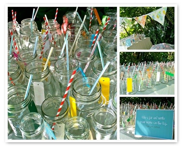 How cute is this idea?! I love all of the different straws! These mason jars would make the cutest drinking glasses at your next event, and the tag is used to write the person's name on it! Clever! (You could also use chalkboard paint, which I'm obsessed with these days.) However, instead of having them all lines up on a table like this, I'd incorporate them in with the rest of my tablescape.