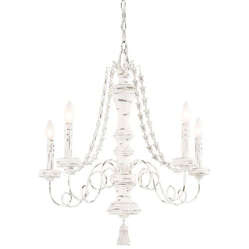Jessica Mcclintock Home Accents Provence Provencal Blanc Five Light Chandelier