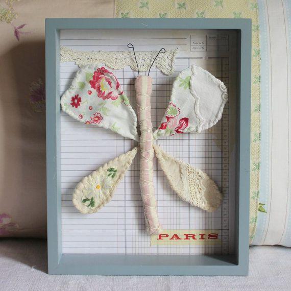 Decoración de la pared antigua tela francesa mariposa adorno bordados vintage