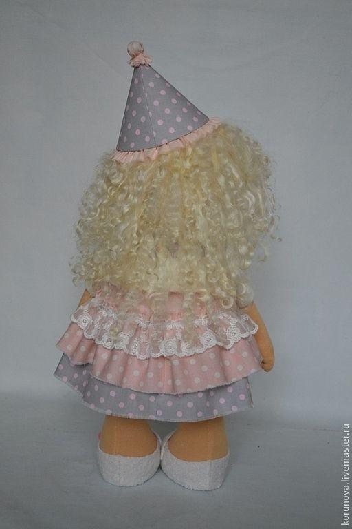 Купить на День рождения - бледно-розовый, розовый, нежно-розовый, серый, в горошек, интерьерная кукла