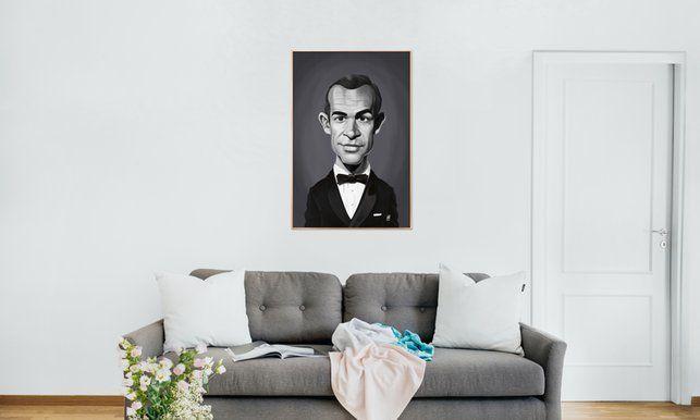 Sean Connery - Rob Snow | Creative - Poster in Aluminium Frame art | decor | wall art | inspiration | caricature | home decor | idea | humor | gifts