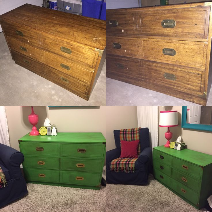 Before & After! Annie Sloan Antibes green campaign chest