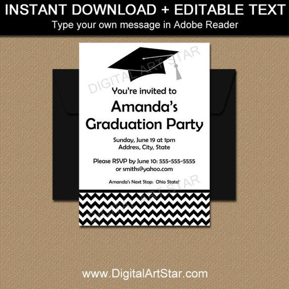 Black and White Graduation Announcement Template with Editable Text