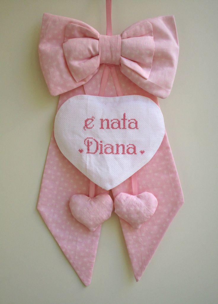 fiocco nascita con cuori pendenti personalizzato per Diana; per info: http://lecreazionidimichela.it.gg/HOME.htm