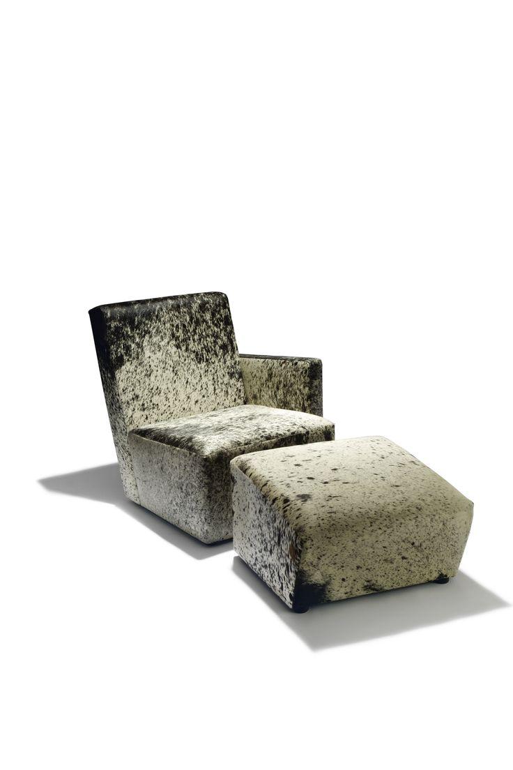 Petit Frank armchair and ottoman, Shifting Réflexions Collection, Design by Hervé Langlais, cowskin, 2015