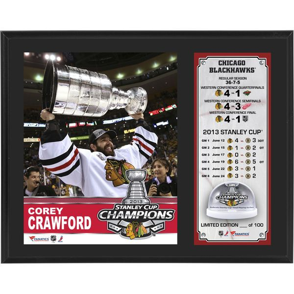 "Corey Crawford Chicago Blackhawks Fanatics Authentic 12"" x 15"" 2013 Stanley Cup Champions Sublimated Plaque with Game-Used Stanley-Cup Melted Ice - Limited Edition of 100 - $59.99"