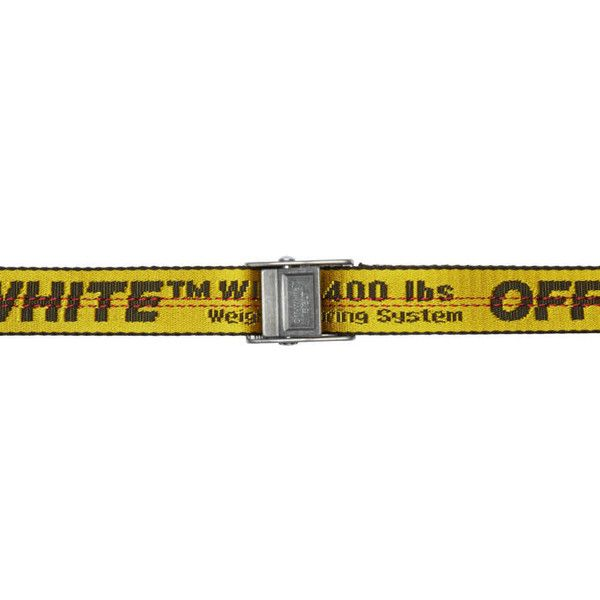 Off-White Yellow and Black Mini Industrial Belt ($165) ❤ liked on Polyvore featuring accessories, belts, yellow, yellow belt, braided belt, off white belt, logo belts and woven belt