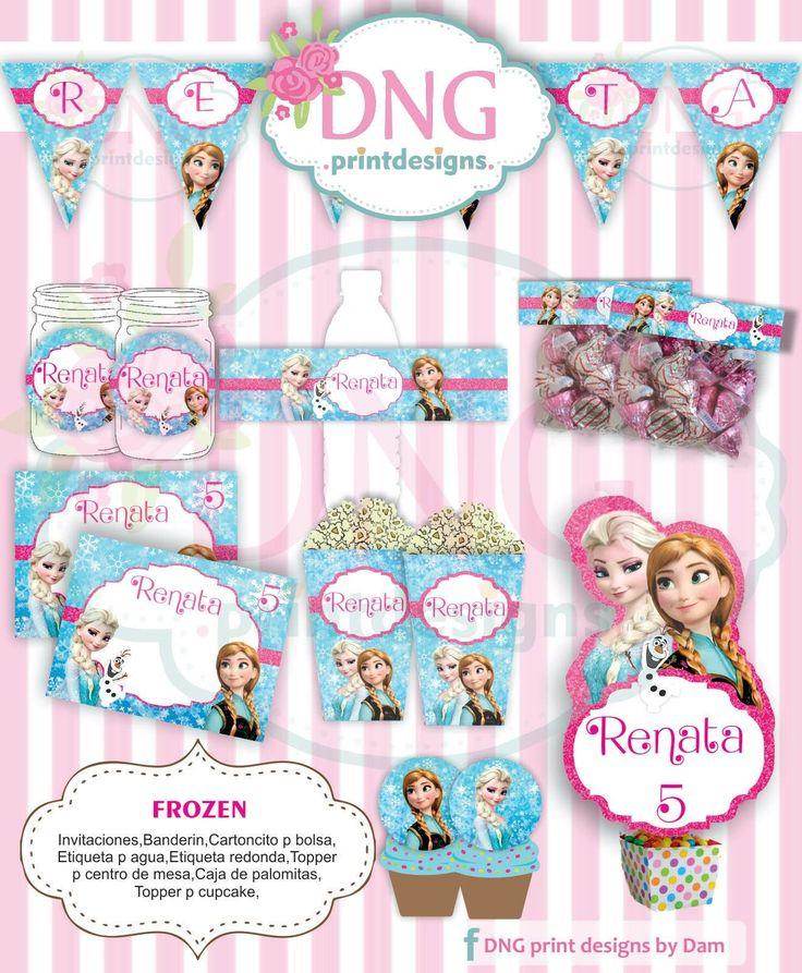 $100 Kit Imprimible Frozen -Ana y Elsa