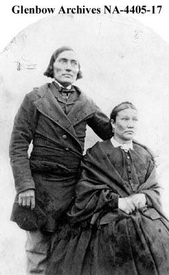 Metis couple, Red River, Manitoba.  1870.