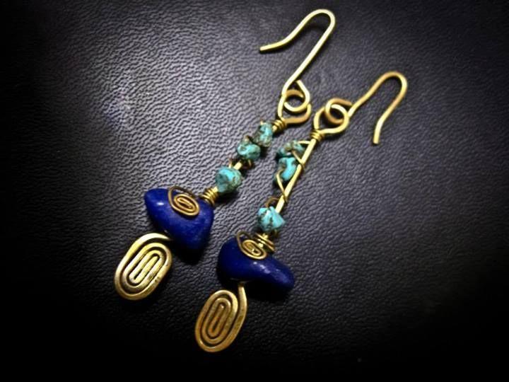 Egyptian Design Earring - Lapis