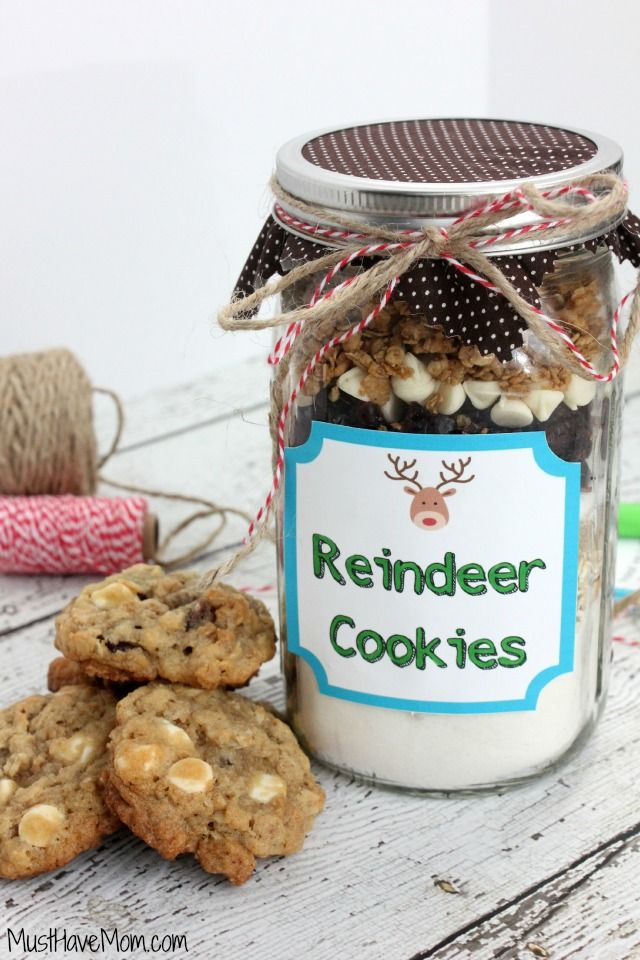 Now the lucky recipient of the cookies in a jar just has to dump the mix in a bowl and add..print off the full reindeer cookies in a jar recipe or pin