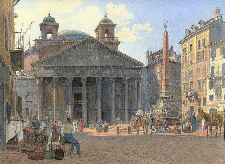 Il Pantheon nel 1836  Acquerello di Jakob Alt