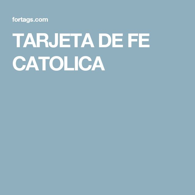 TARJETA DE FE CATOLICA