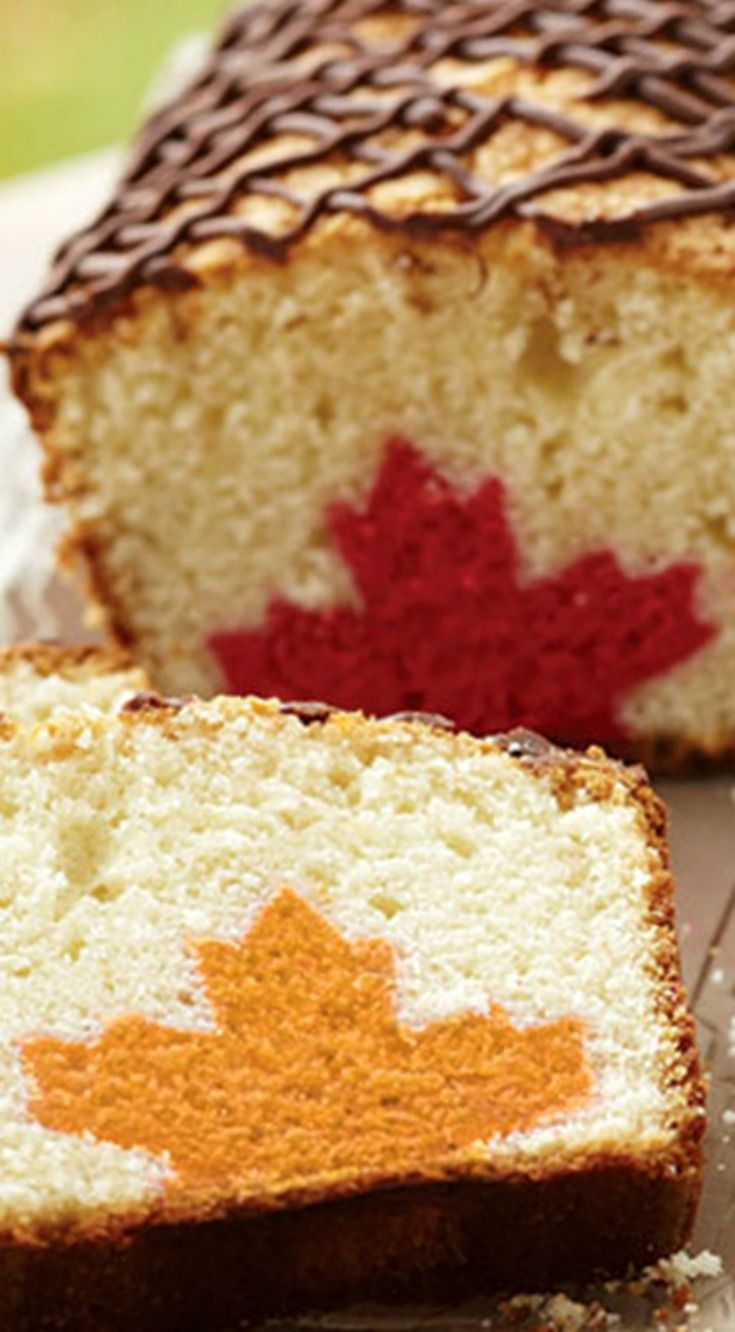 Leaf Inside Loaf Cake ~ Cut into this delicious pound cake for a fall surprise—a colorful maple leaf design in every slice!